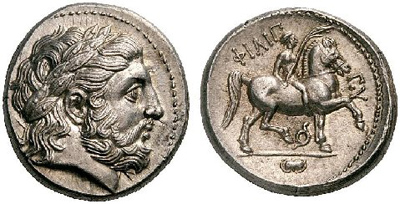 Тетрадрахма. Филип II Македонский.