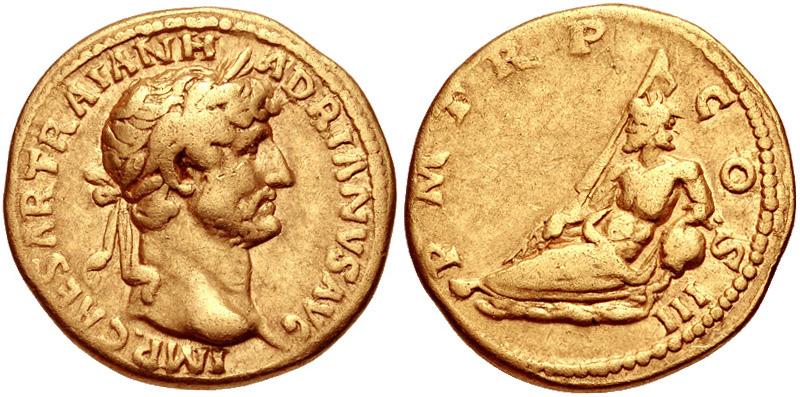 Золотой римский ауреус Адриана