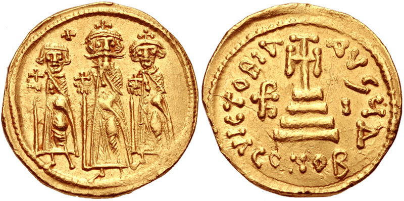 Византийский золотой солид Ираклия