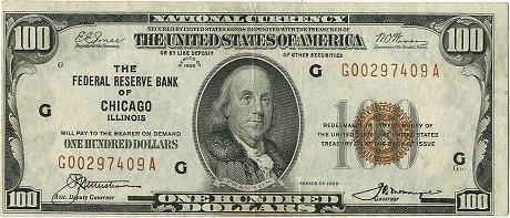 Банкнота в 100 долларов 1929г. Ошибка печати. Редкая