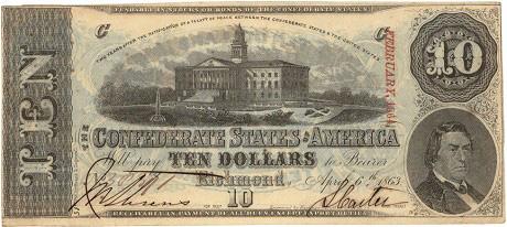 10 долларов Конфедератов. 1863г