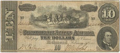 10 долларов Конфедератов. 1864г