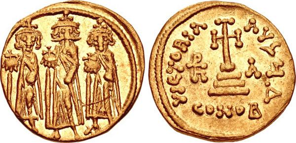 Византия. Золотой солид Ираклия