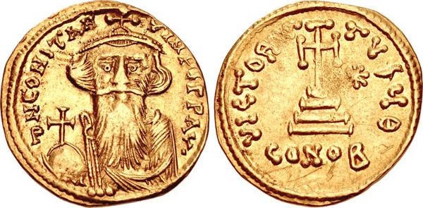 Византия. Золотой солид. Констанс-II