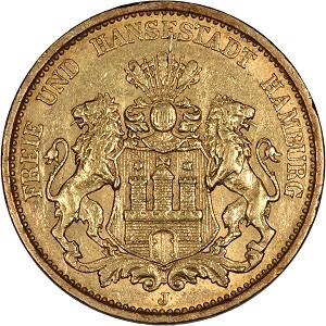 Germany, Hamburg, 1876 J, 20 Mark, .2305 oz.