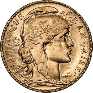 France, 1907, 20 Francs, CH BU. 6,5g