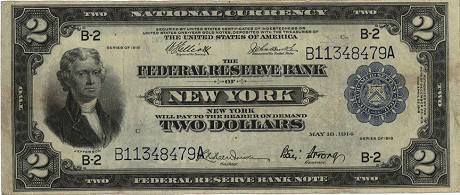 1918- $2 F-752 VF New York. Battleship
