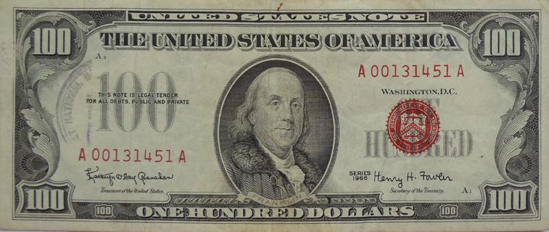 Банкнота 100 долларов США. Красная печать
