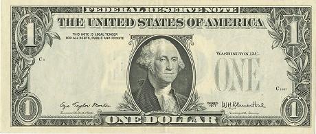 Банкнтота 1 доллар с ошибкой печати