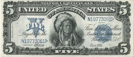 Банкнота 5 долларов, 1899г. С индейцем