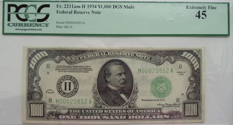 Банкнота номиналом 1000 долларов США. 1934г
