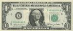 Банкнота в 1 доллар с номером 44444444