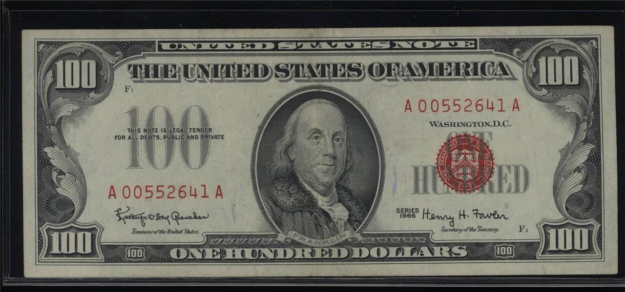100 долларов США 1966г. Красная печать