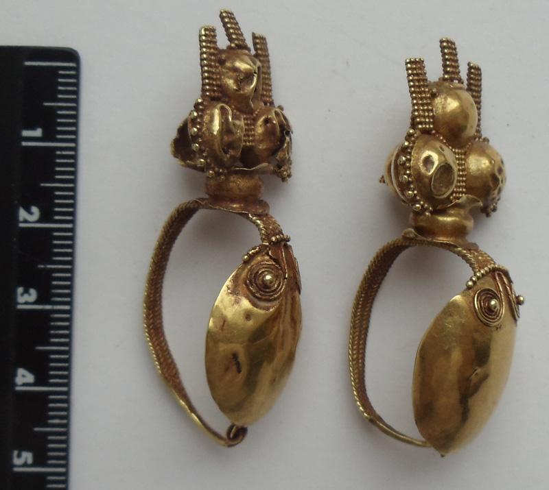 Pair of elaborate Eastern Roman earrings